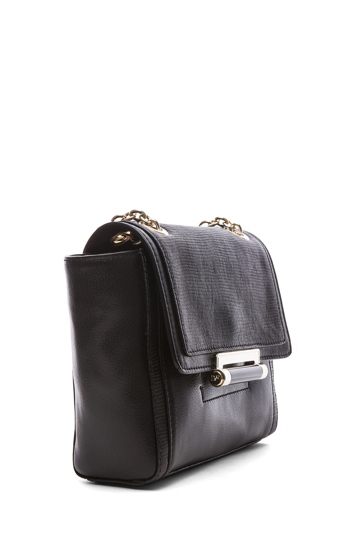 Image 3 of Diane von Furstenberg Mini Lips Embossed Lizard Leather Bag in Black