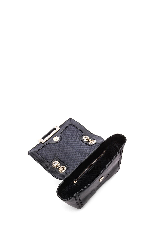 Image 4 of Diane von Furstenberg Mini Lips Embossed Lizard Leather Bag in Black
