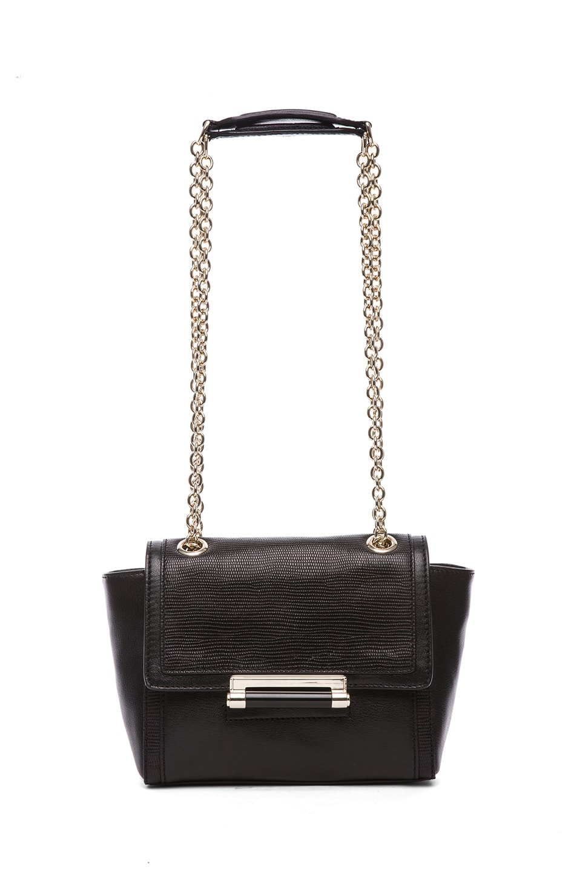 Image 5 of Diane von Furstenberg Mini Lips Embossed Lizard Leather Bag in Black