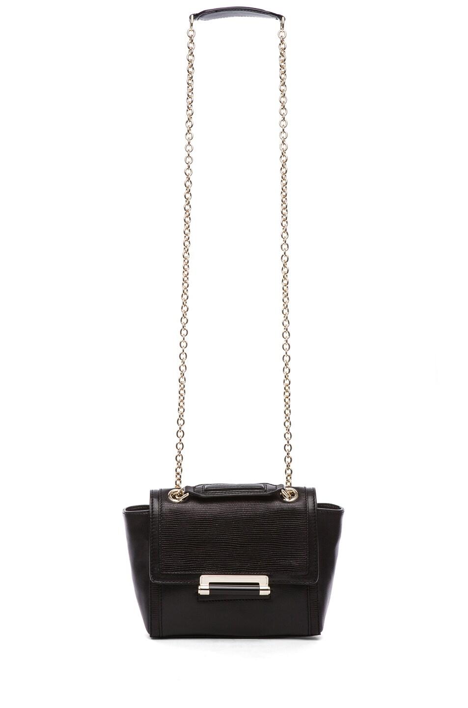 Image 6 of Diane von Furstenberg Mini Lips Embossed Lizard Leather Bag in Black