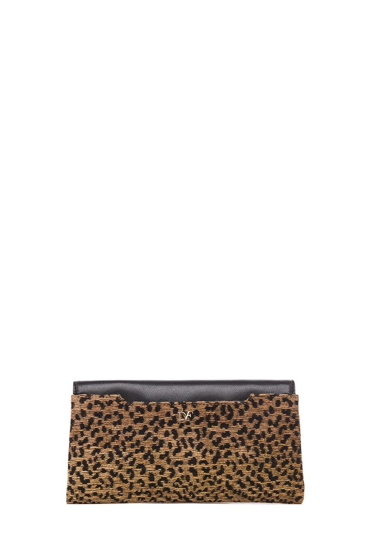Image 2 of Diane von Furstenberg Envelope Leopard Jacquard Clutch in Black & Brown