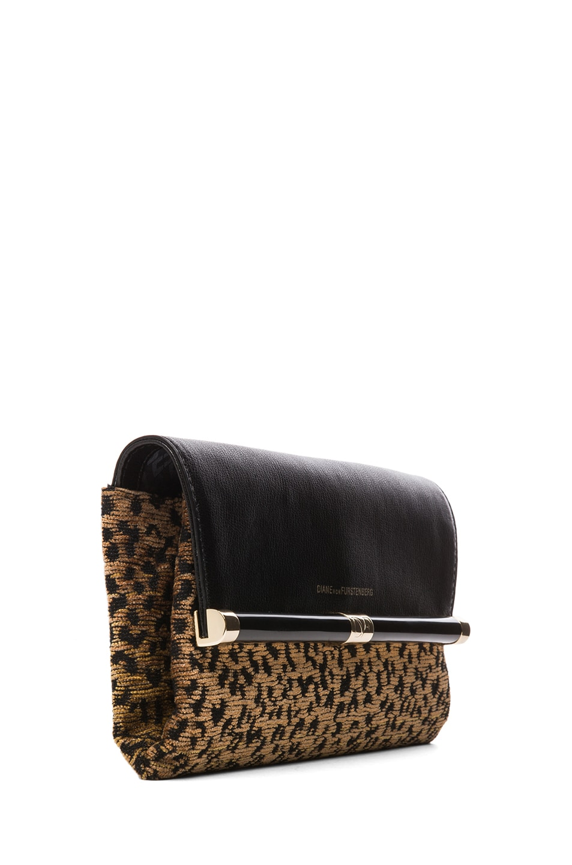 Image 3 of Diane von Furstenberg Envelope Leopard Jacquard Clutch in Black & Brown