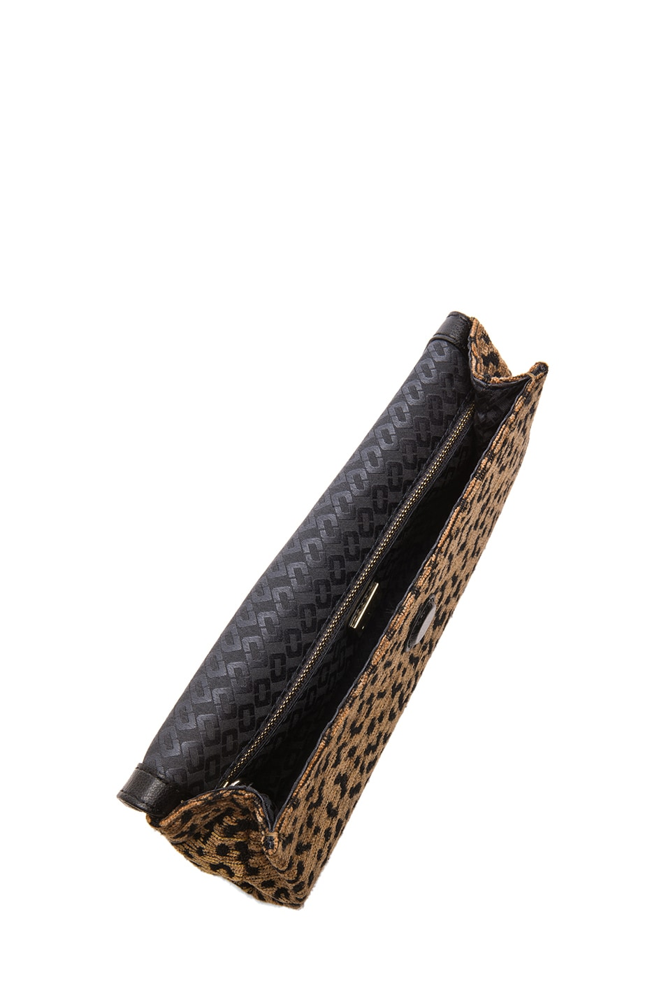 Image 4 of Diane von Furstenberg Envelope Leopard Jacquard Clutch in Black & Brown