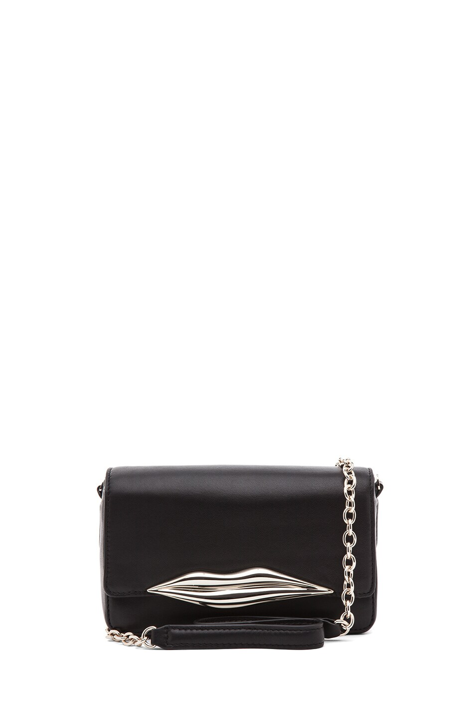 Image 1 of Diane von Furstenberg Mini Flirty Leather Crossbody in Black