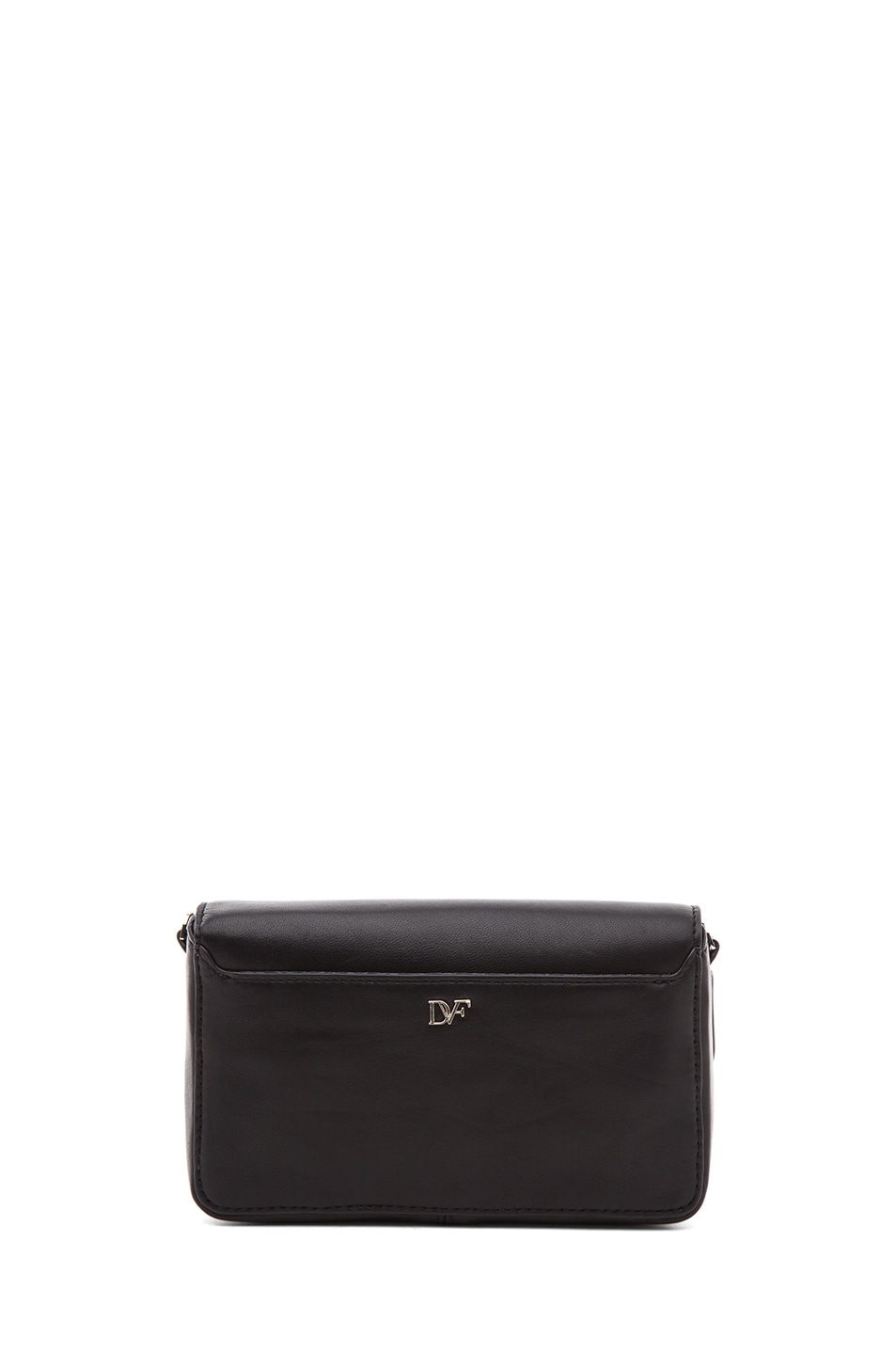 Image 2 of Diane von Furstenberg Mini Flirty Leather Crossbody in Black