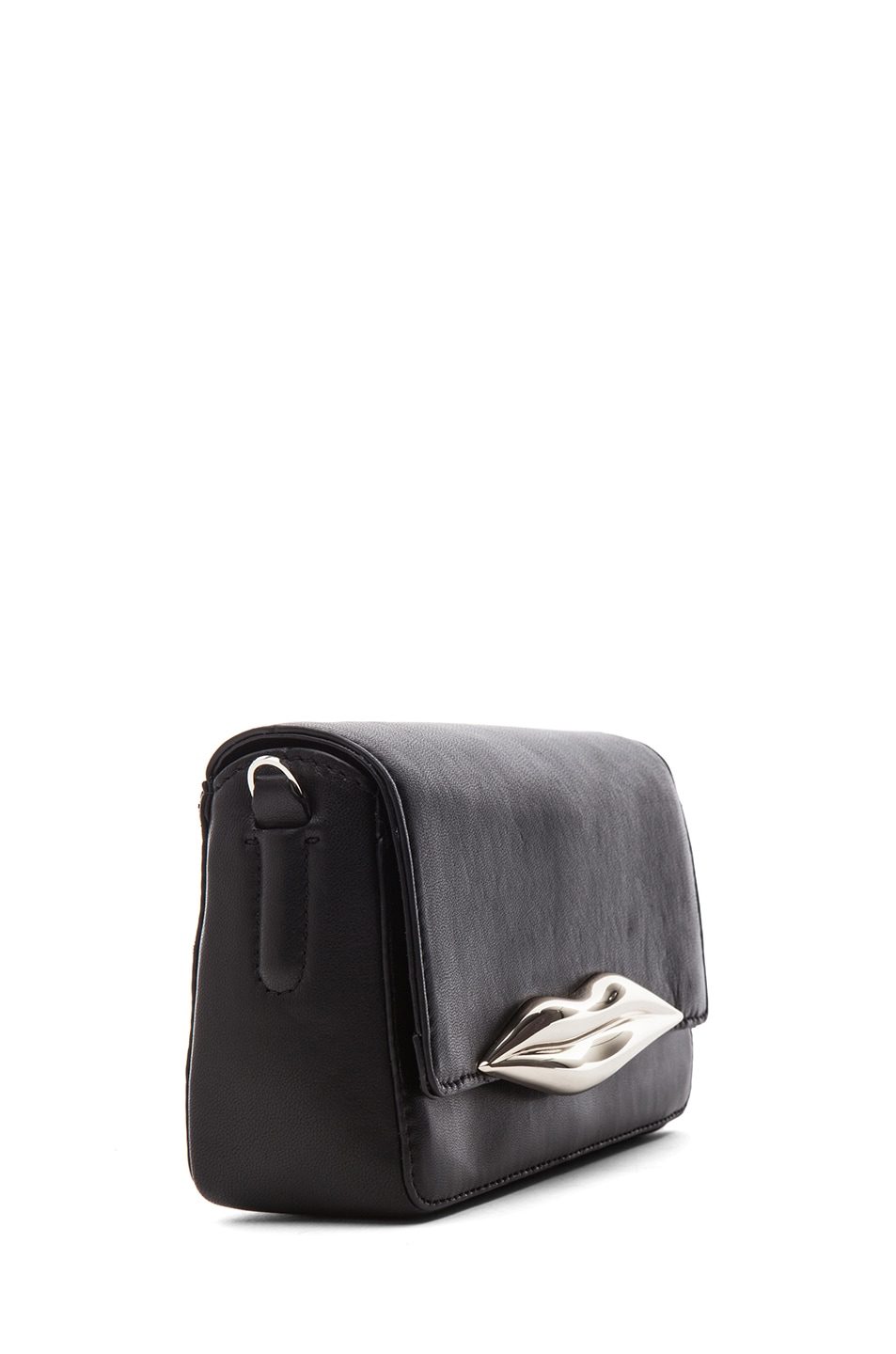 Image 3 of Diane von Furstenberg Mini Flirty Leather Crossbody in Black