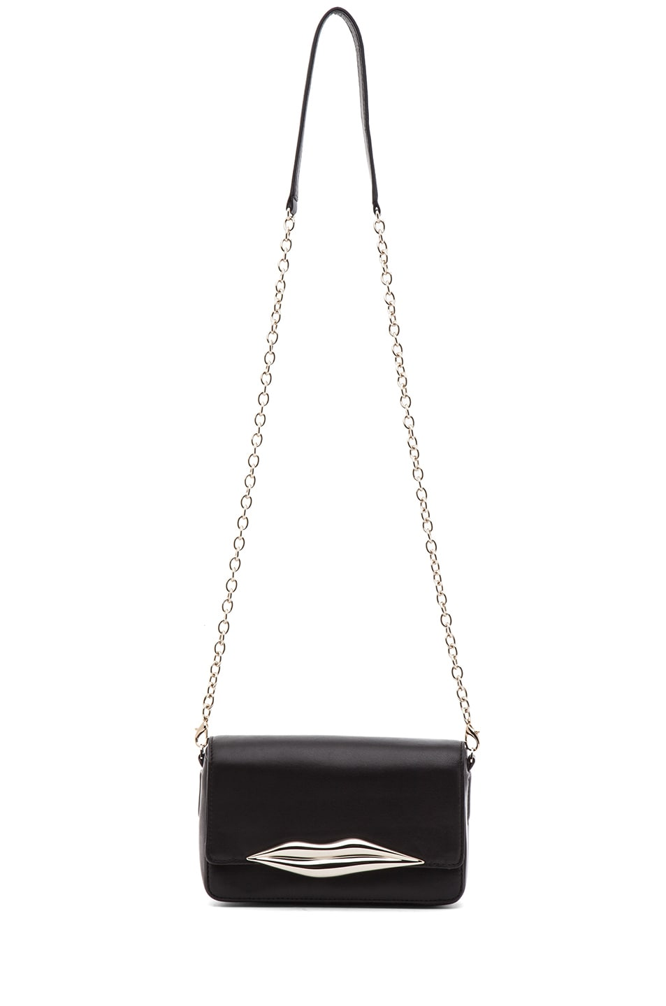 Image 5 of Diane von Furstenberg Mini Flirty Leather Crossbody in Black