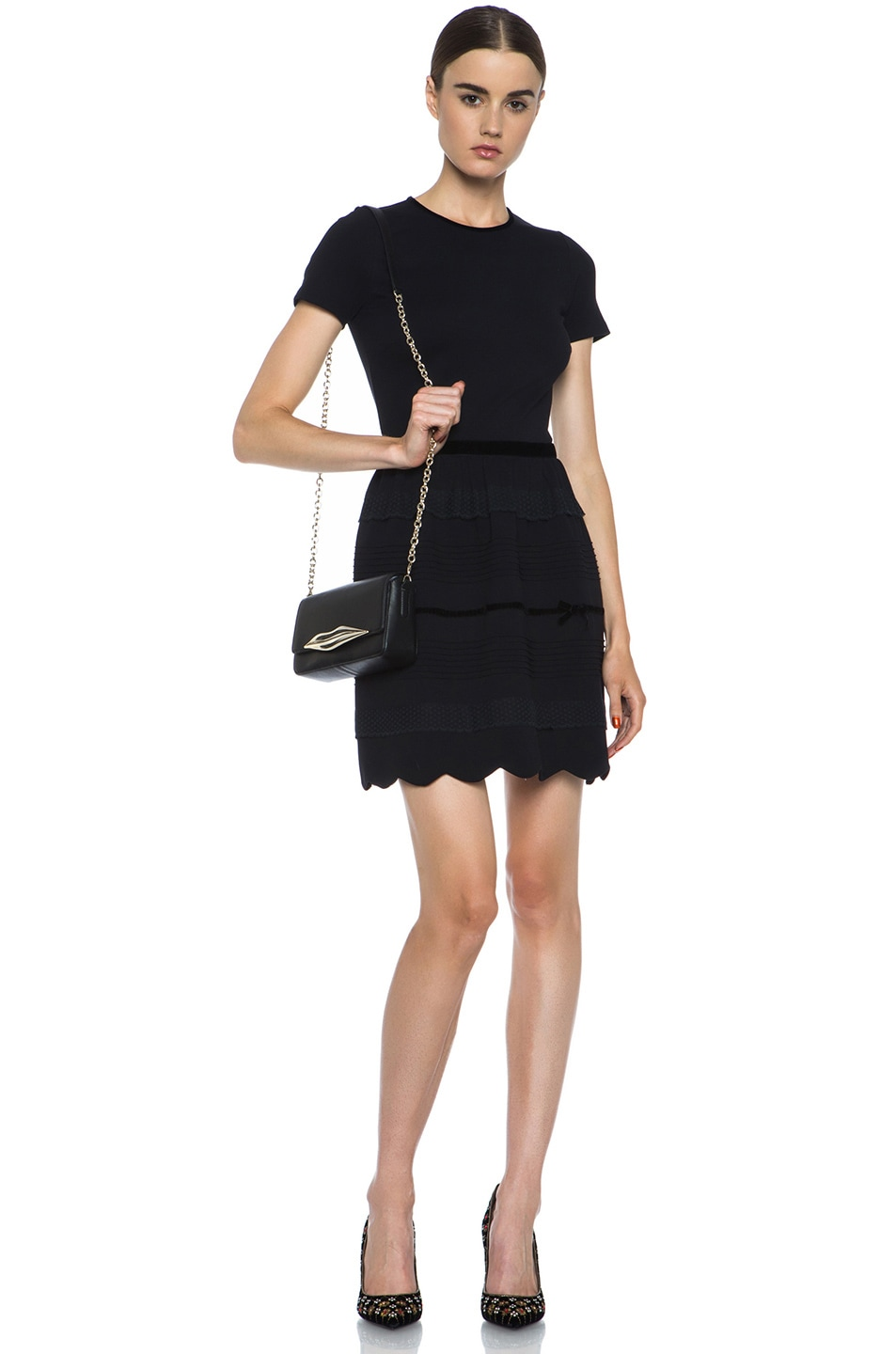 Image 6 of Diane von Furstenberg Mini Flirty Leather Crossbody in Black