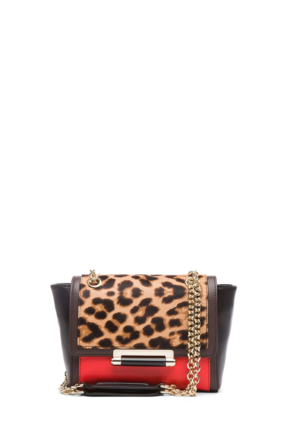 Image 1 of Diane von Furstenberg Mini 440 Leo Haircalf and Leather Bag in Leopard & Paprika