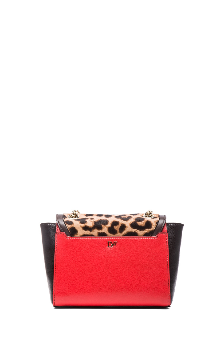 Image 2 of Diane von Furstenberg Mini 440 Leo Haircalf and Leather Bag in Leopard & Paprika