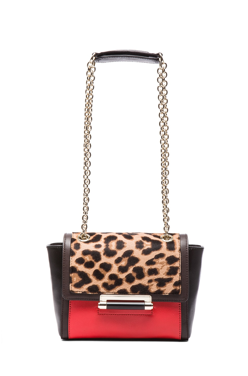 Image 5 of Diane von Furstenberg Mini 440 Leo Haircalf and Leather Bag in Leopard & Paprika
