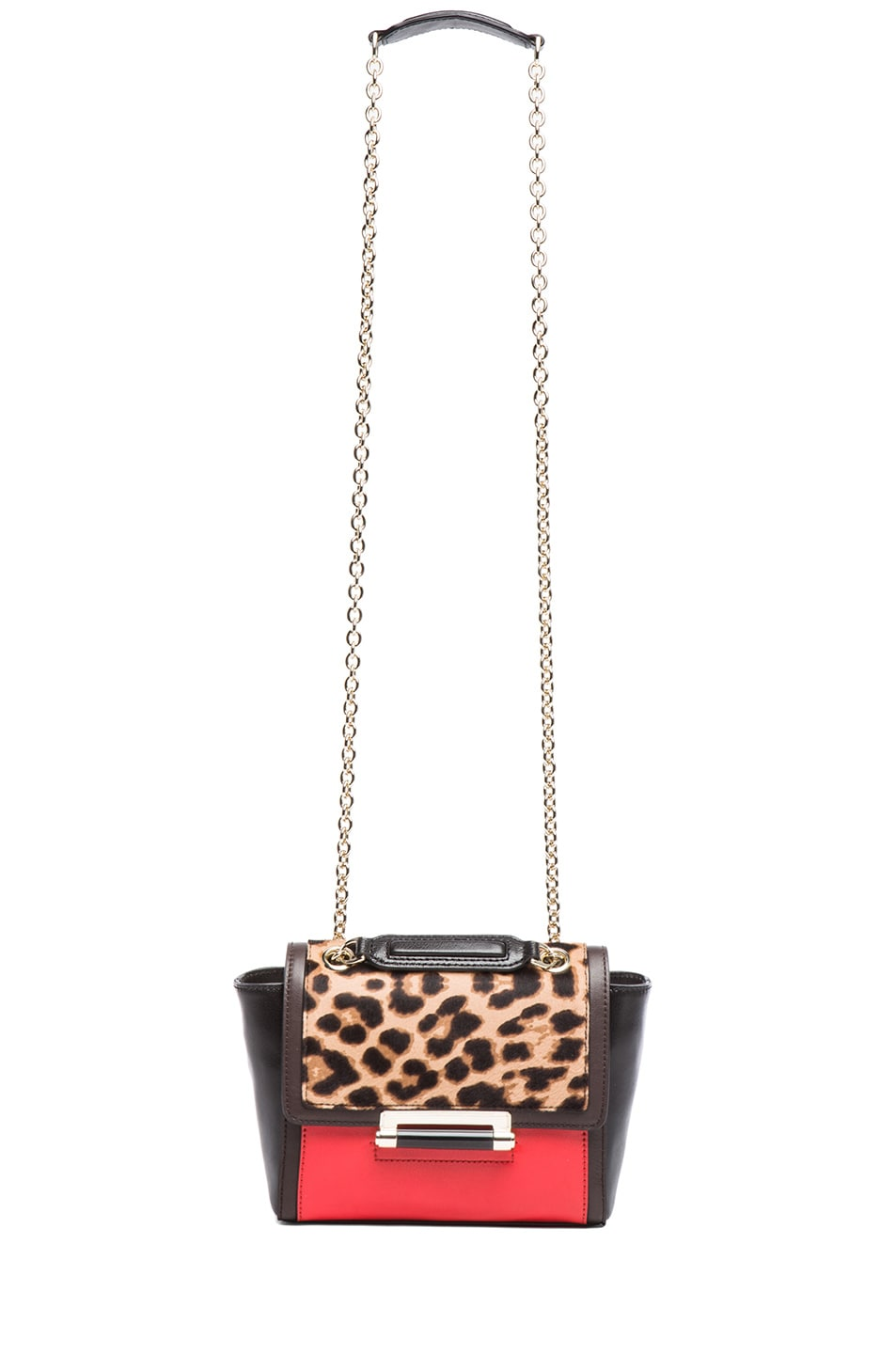 Image 6 of Diane von Furstenberg Mini 440 Leo Haircalf and Leather Bag in Leopard & Paprika