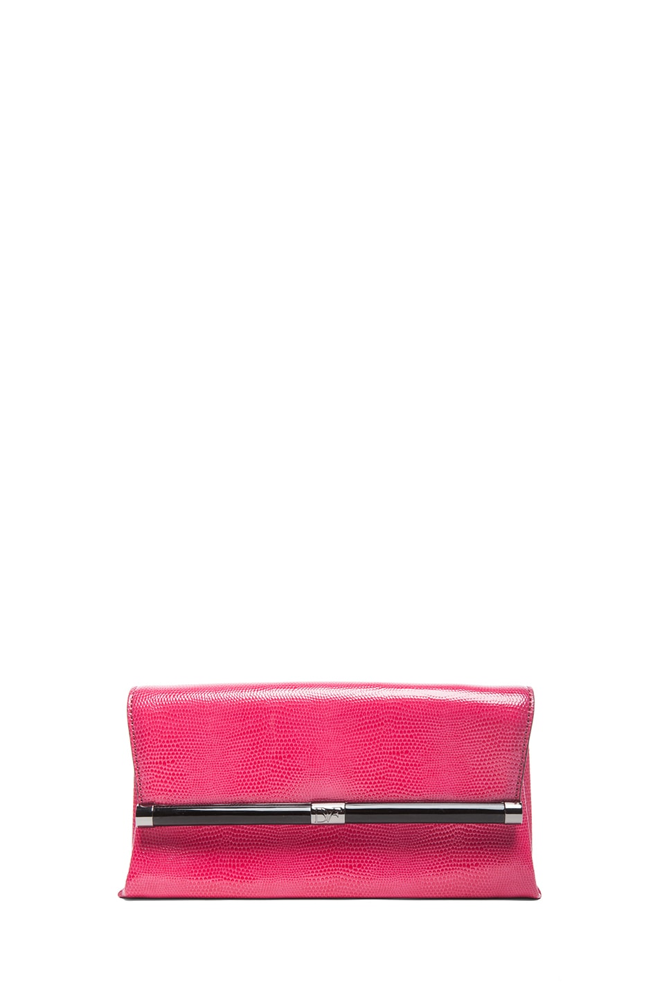 Image 1 of Diane von Furstenberg Envelope Lizard Embossed Clutch in Rasberry
