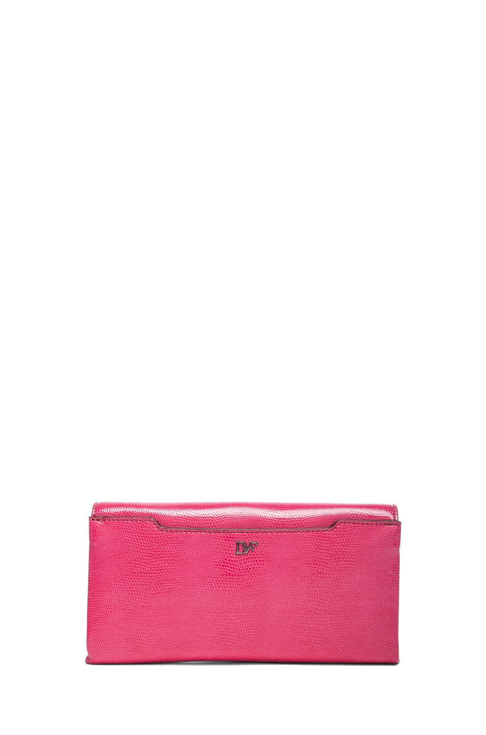 Image 2 of Diane von Furstenberg Envelope Lizard Embossed Clutch in Rasberry