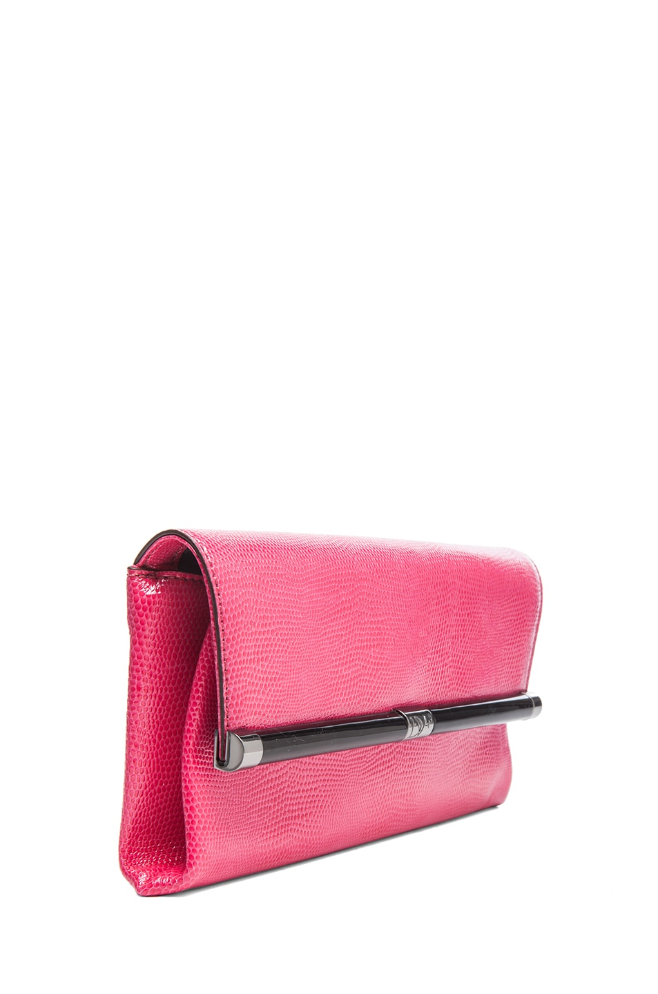 Image 3 of Diane von Furstenberg Envelope Lizard Embossed Clutch in Rasberry