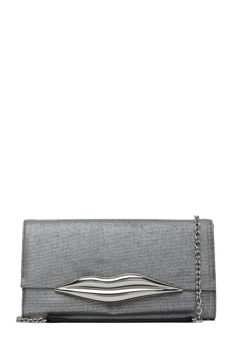 Image 1 of Diane von Furstenberg Carolina Lips Metallic Canvas in Silver