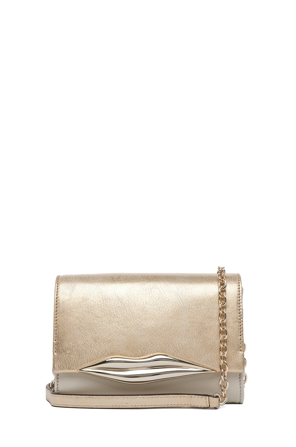 Image 1 of Diane von Furstenberg Lips Mini Soft Metallic in Light Gold