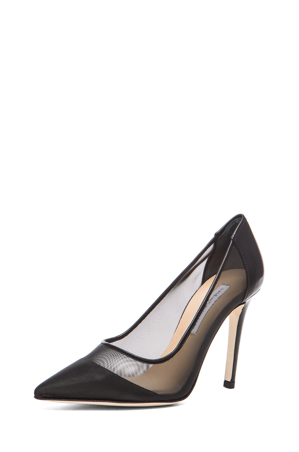 Image 2 of Diane von Furstenberg Bianca Mesh & Leather Pumps in Black