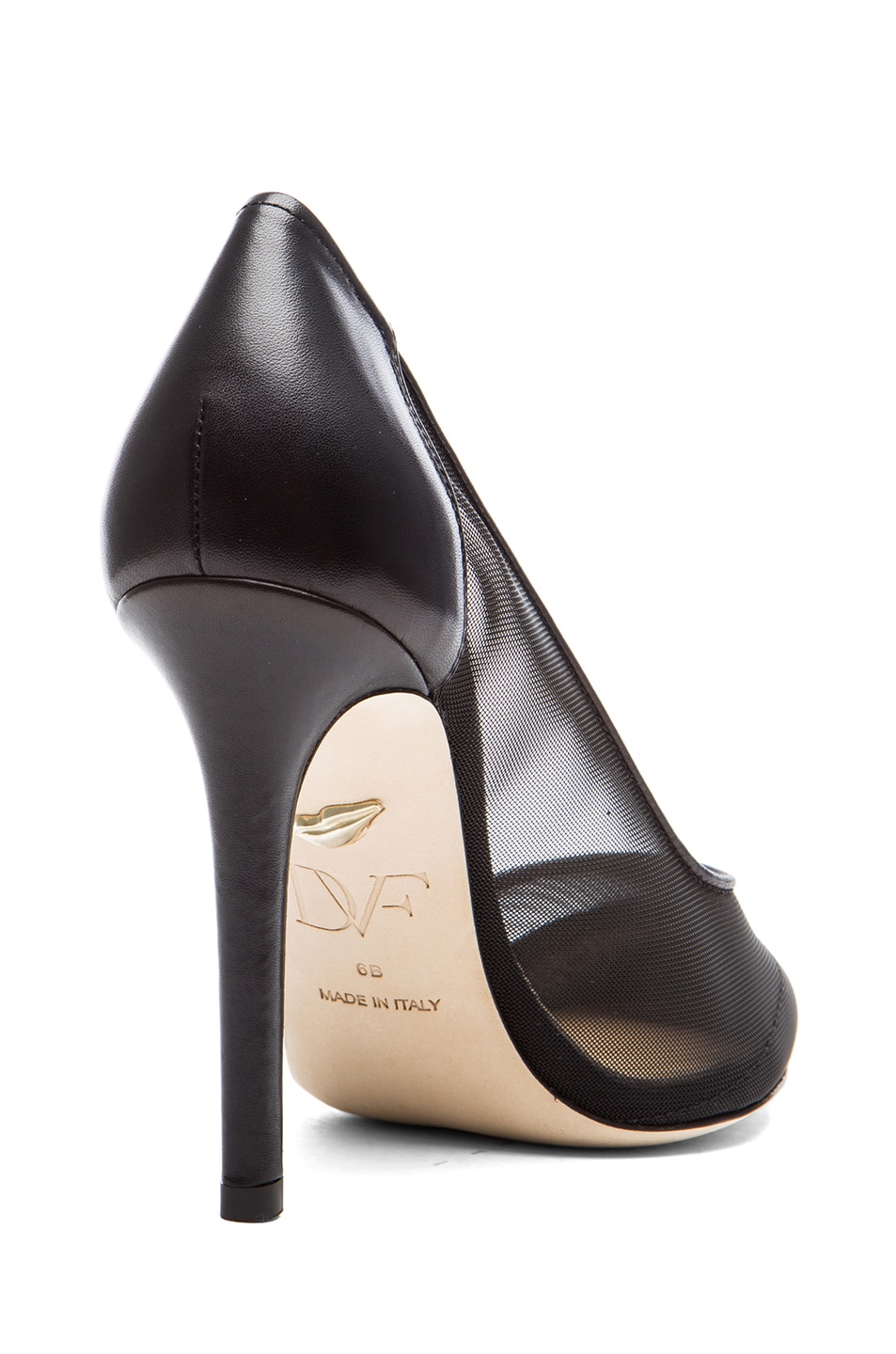 Image 3 of Diane von Furstenberg Bianca Mesh & Leather Pumps in Black
