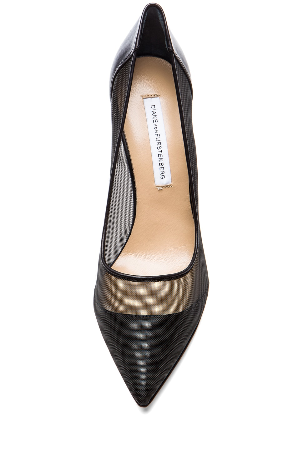Image 4 of Diane von Furstenberg Bianca Mesh & Leather Pumps in Black