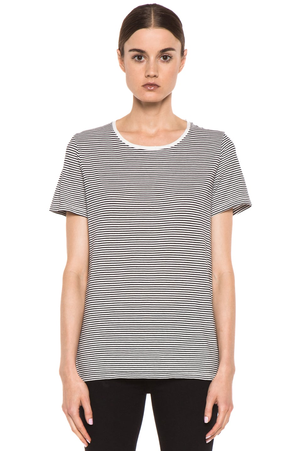 Image 2 of EACH x OTHER Washed Striped Tee in White & Black