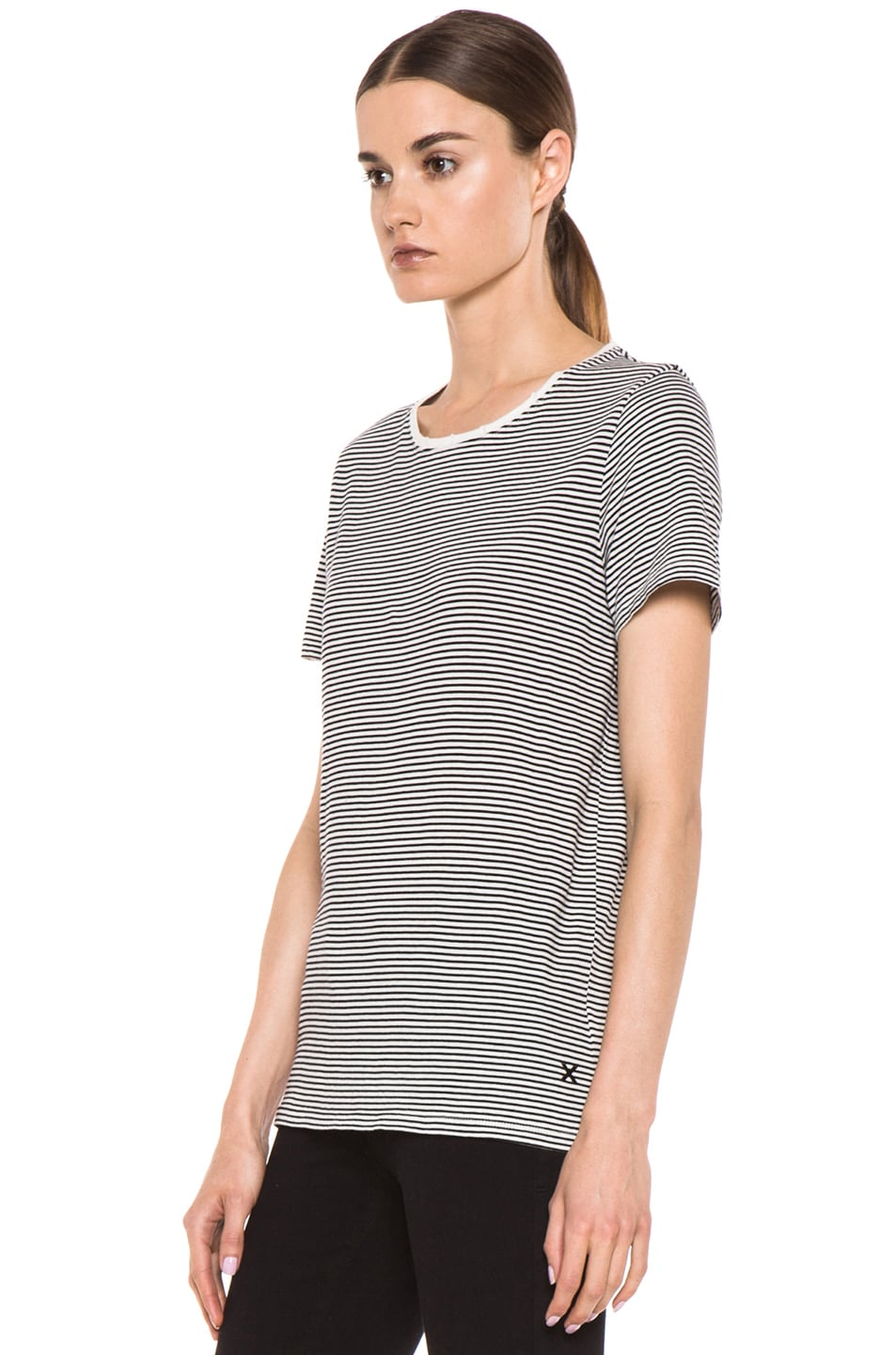 Image 3 of EACH x OTHER Washed Striped Tee in White & Black