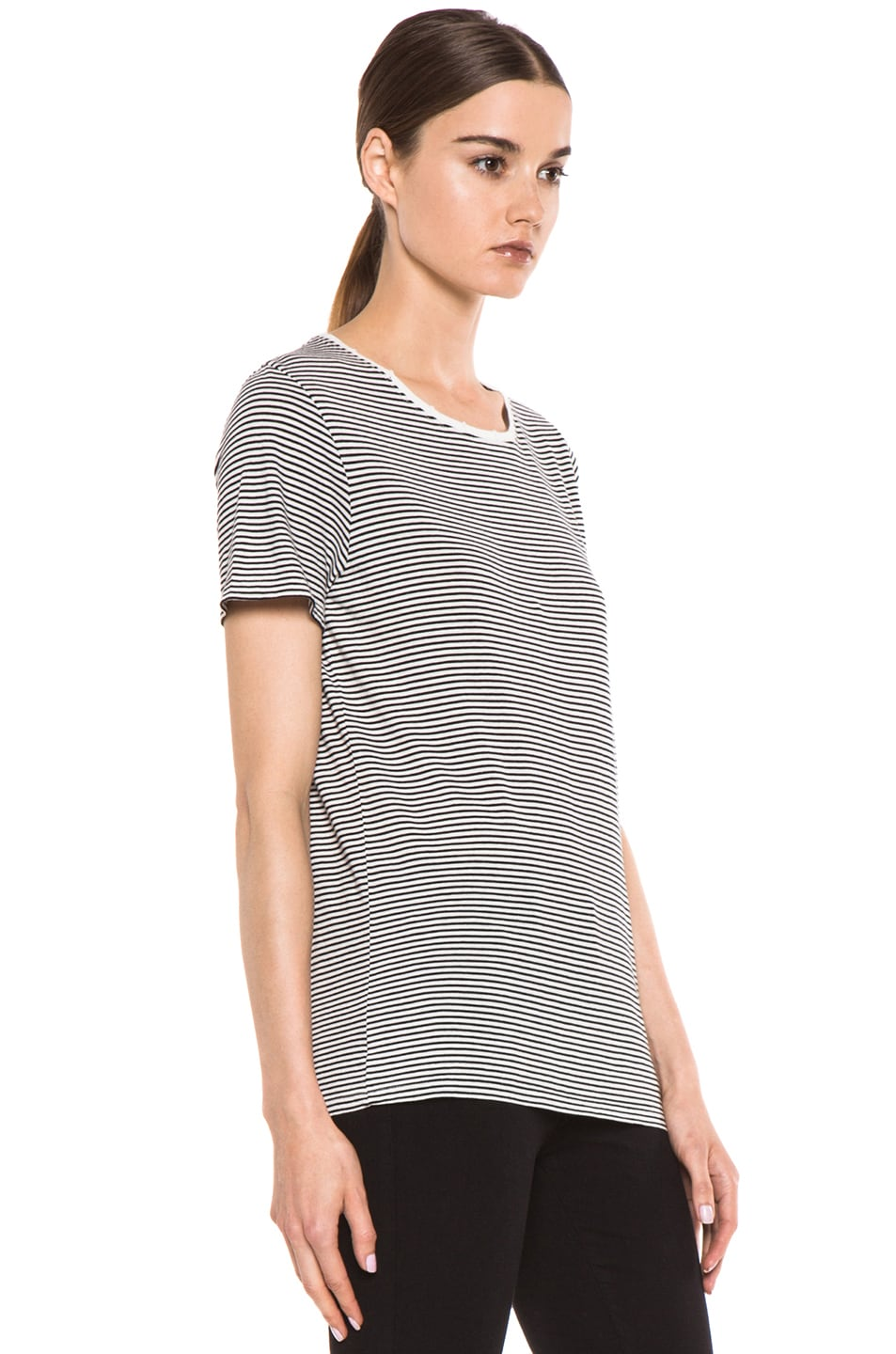 Image 4 of EACH x OTHER Washed Striped Tee in White & Black