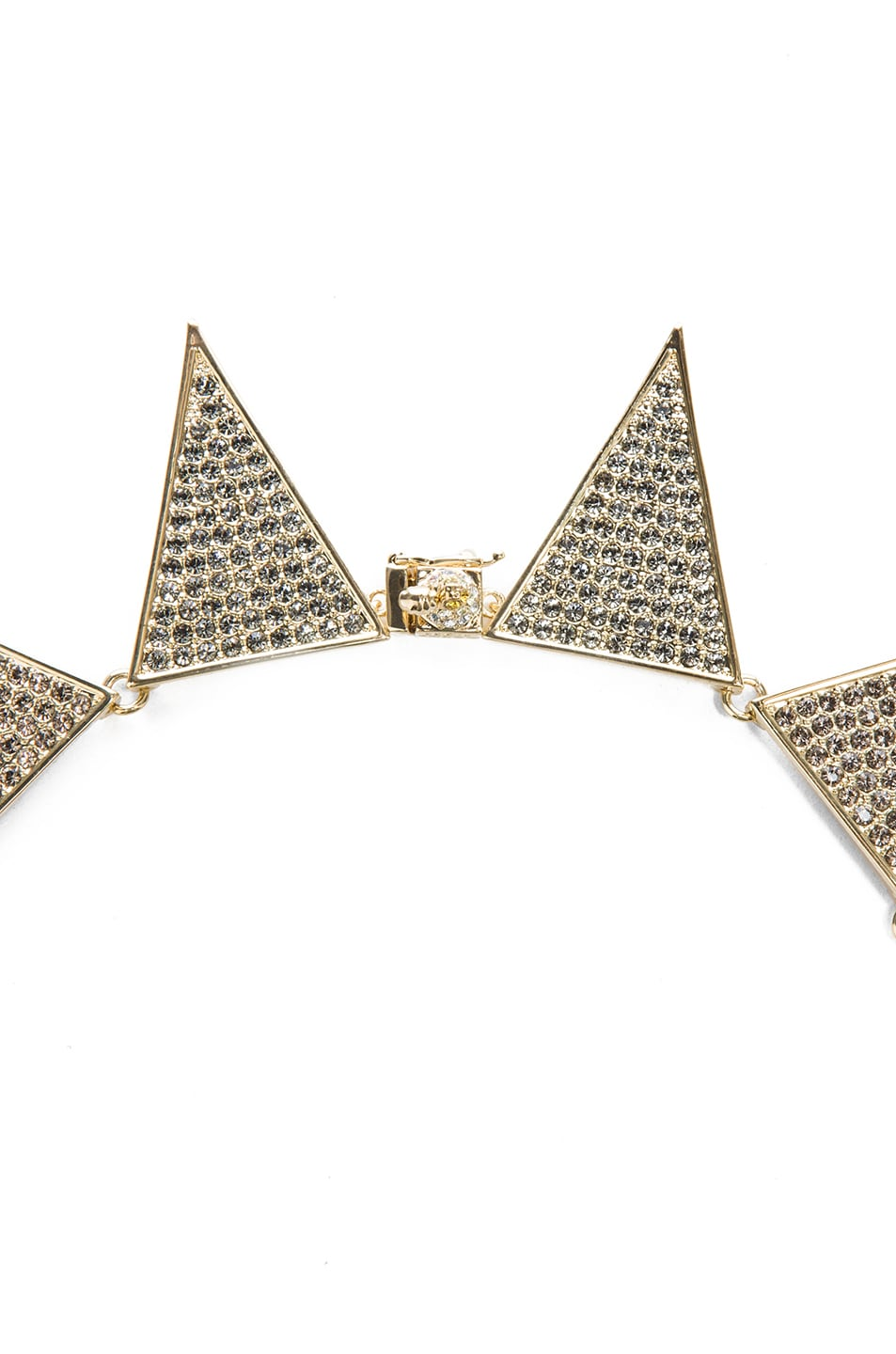 Image 2 of Eddie Borgo Large Pave Plated Flat Triangle Necklace in Gold