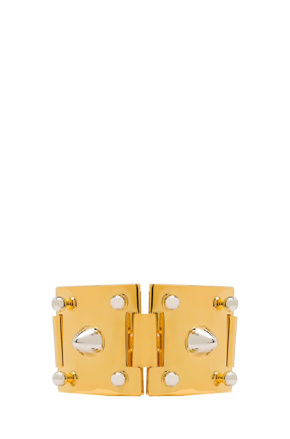 Image 1 of Eddie Borgo Two Tone Studded Plated Brass Cuff in Gold
