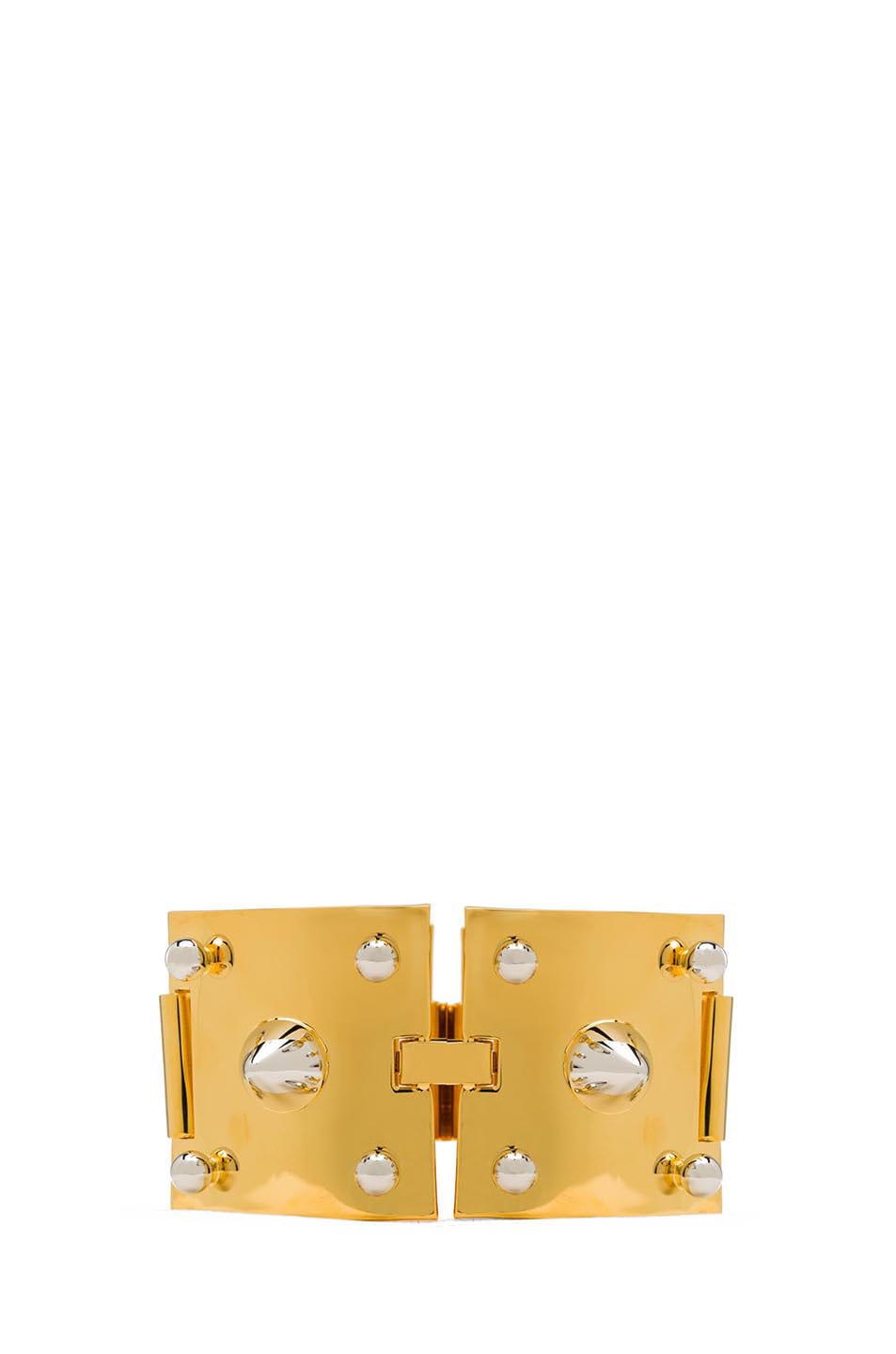 Image 3 of Eddie Borgo Two Tone Studded Plated Brass Cuff in Gold