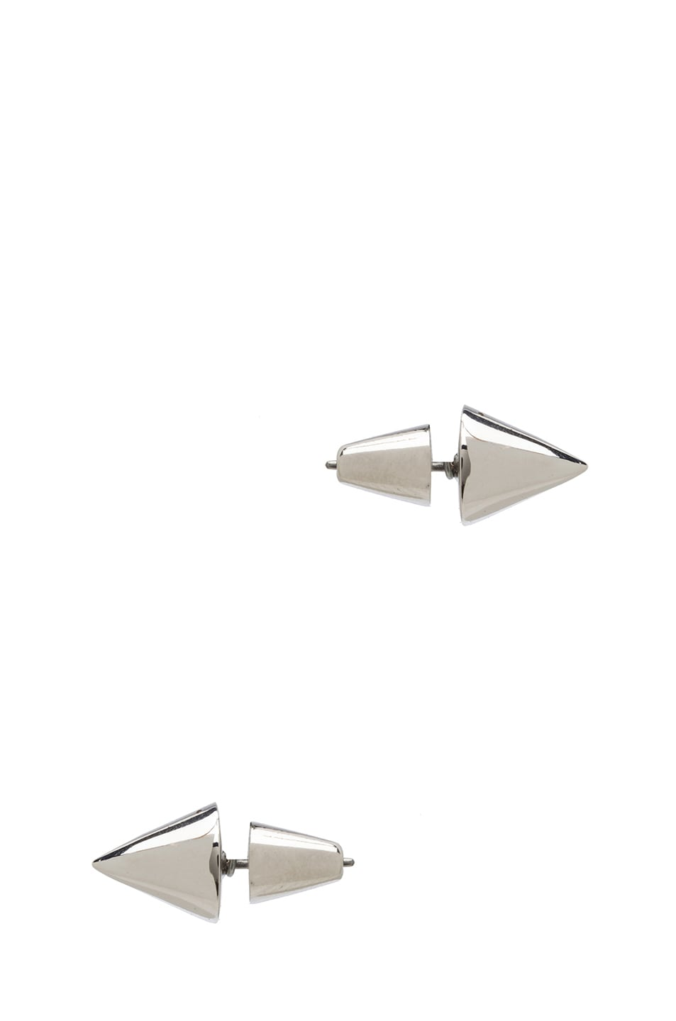Image 2 of Eddie Borgo Cone Stud Brass Earring in Silver