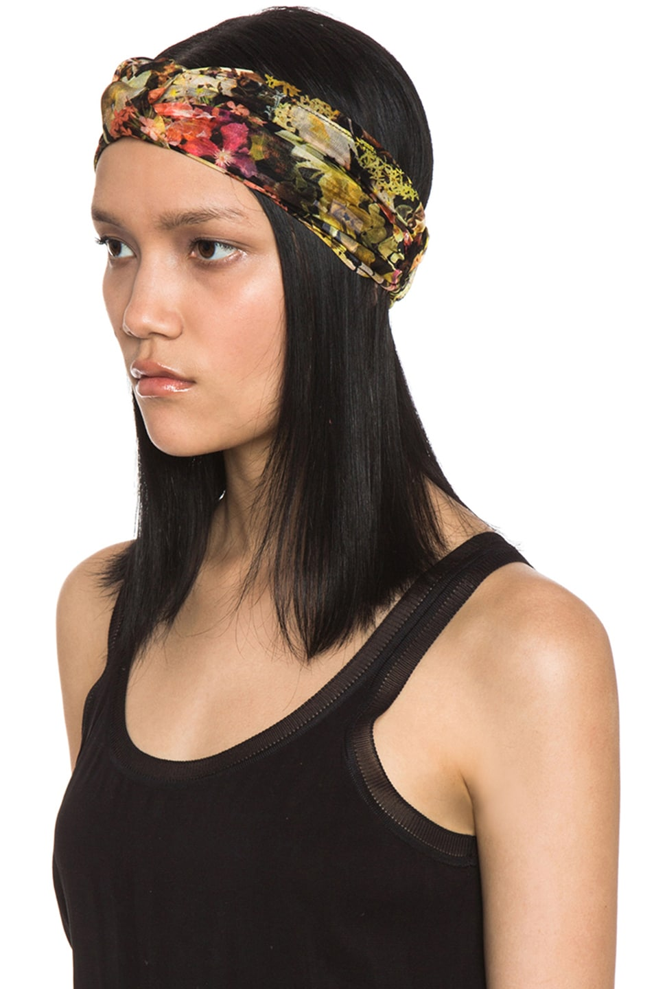 Image 2 of Eugenia Kim Natalia Floral Chiffon Turban Headband in Black & Multi