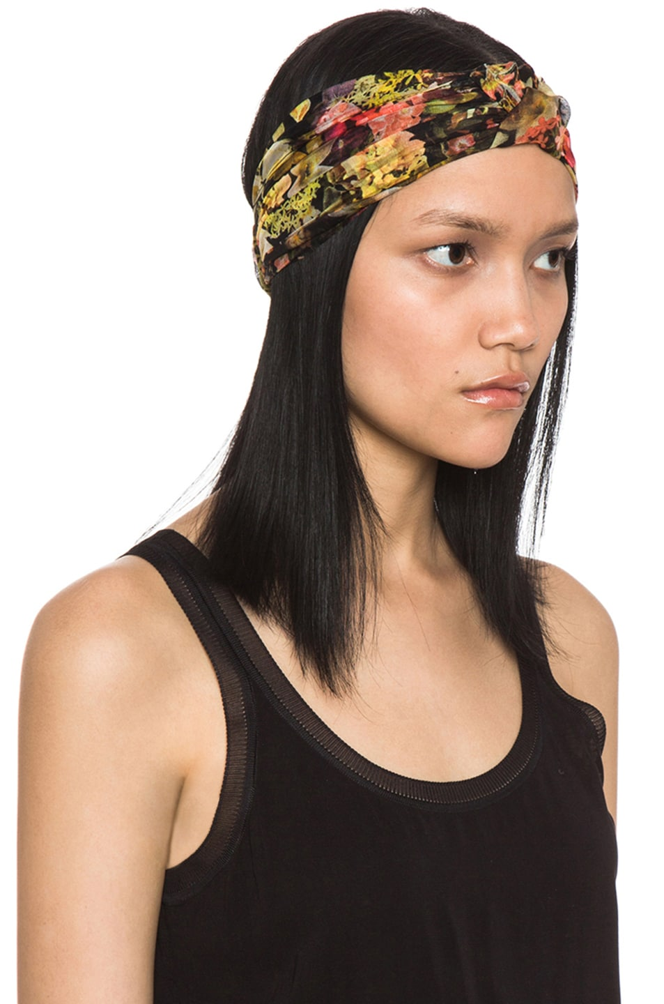 Image 3 of Eugenia Kim Natalia Floral Chiffon Turban Headband in Black & Multi