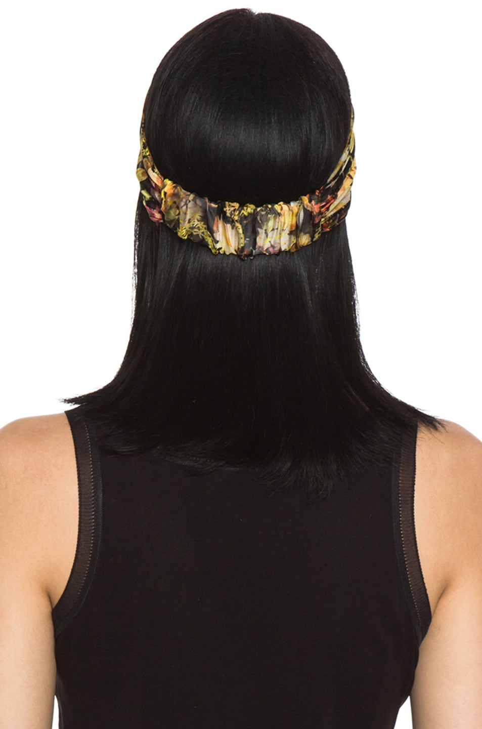 Image 4 of Eugenia Kim Natalia Floral Chiffon Turban Headband in Black & Multi