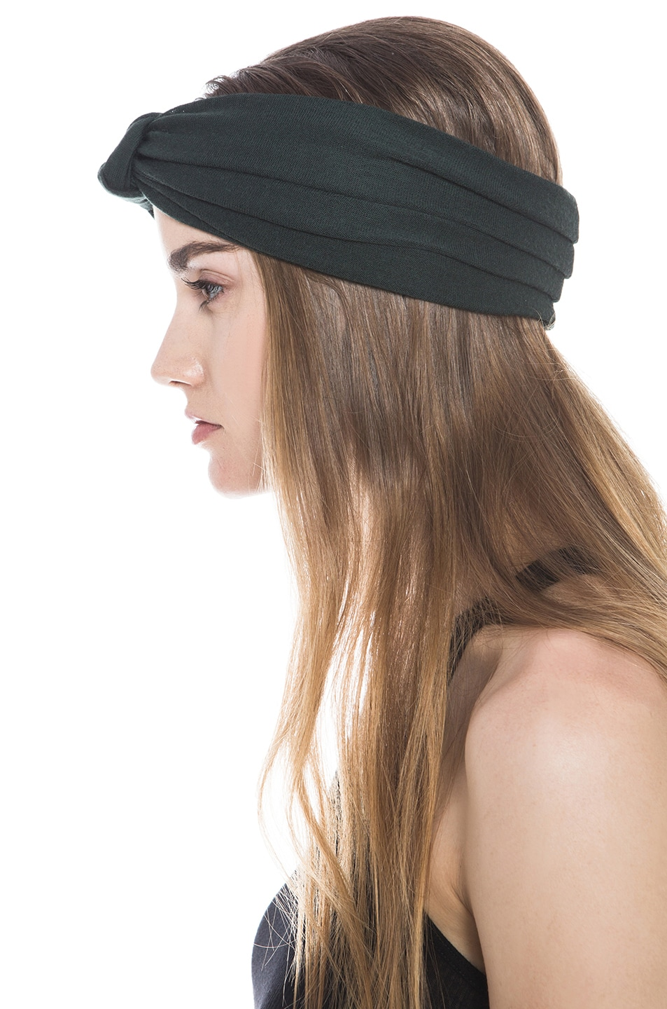 Image 2 of Eugenia Kim Chiara Wool Jersey Turban Headband in Hunter Green