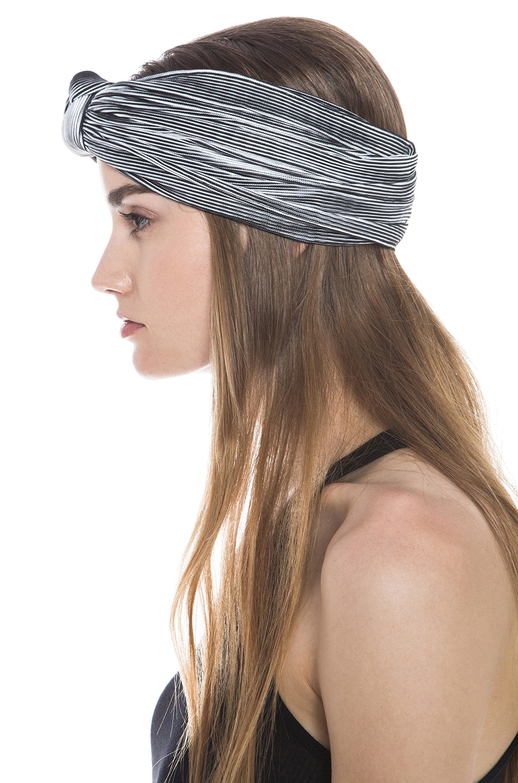 Image 2 of Eugenia Kim Chiara Stripe Jersey Turban Headband in Black & White