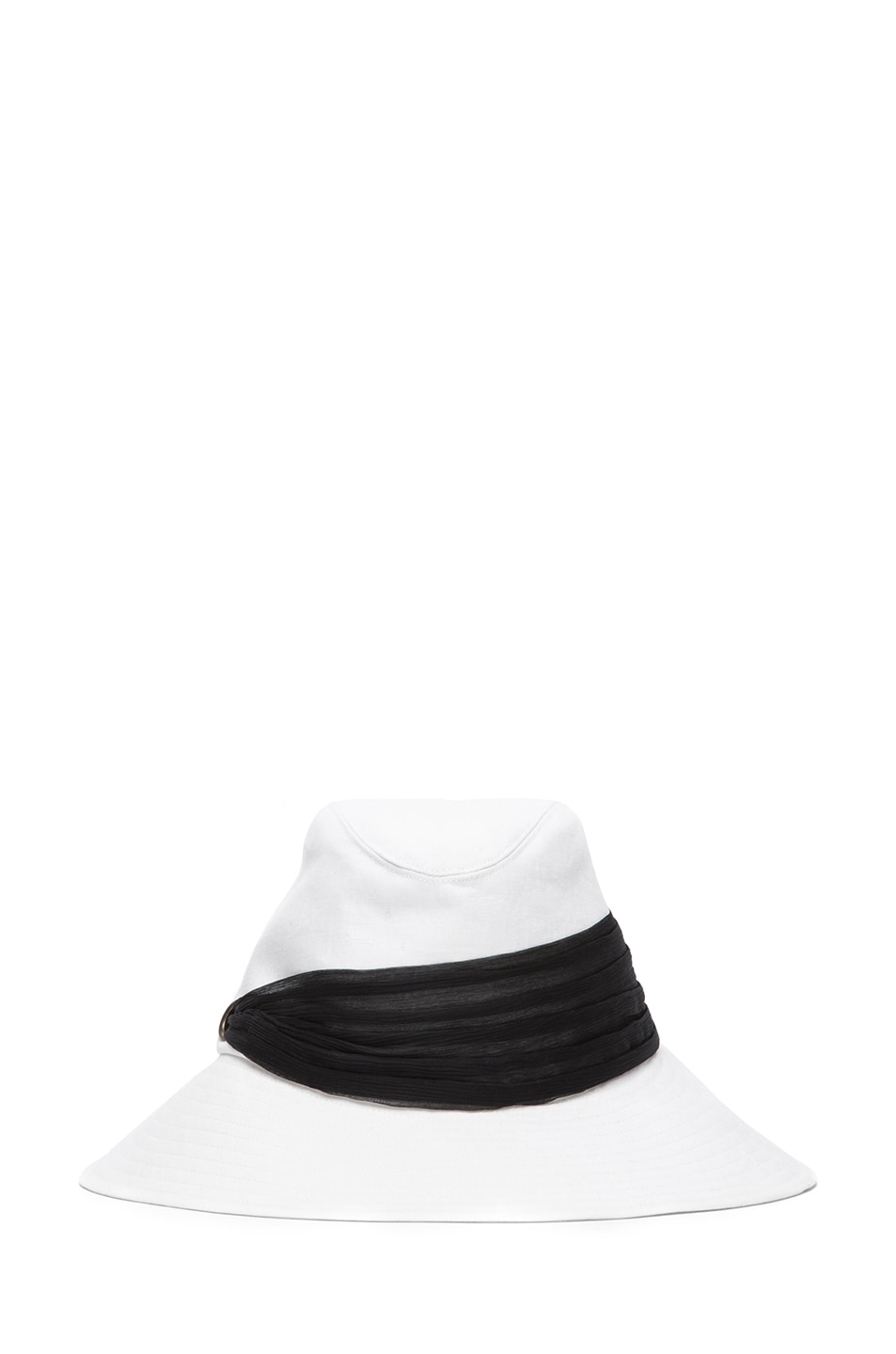 Image 1 of Eugenia Kim Jordana Linen Wide Brim Fedora in Ivory & Black
