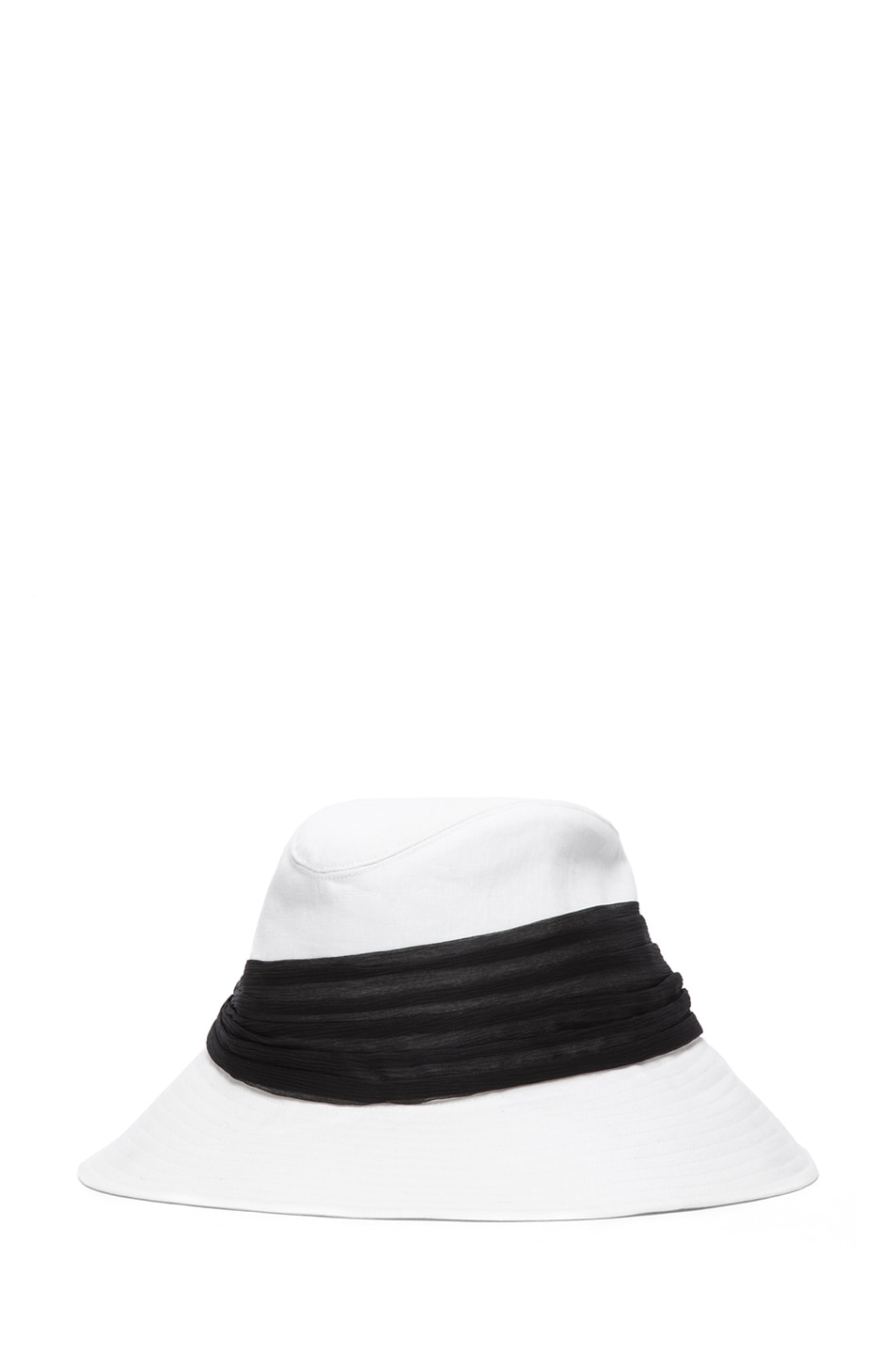 Image 2 of Eugenia Kim Jordana Linen Wide Brim Fedora in Ivory & Black