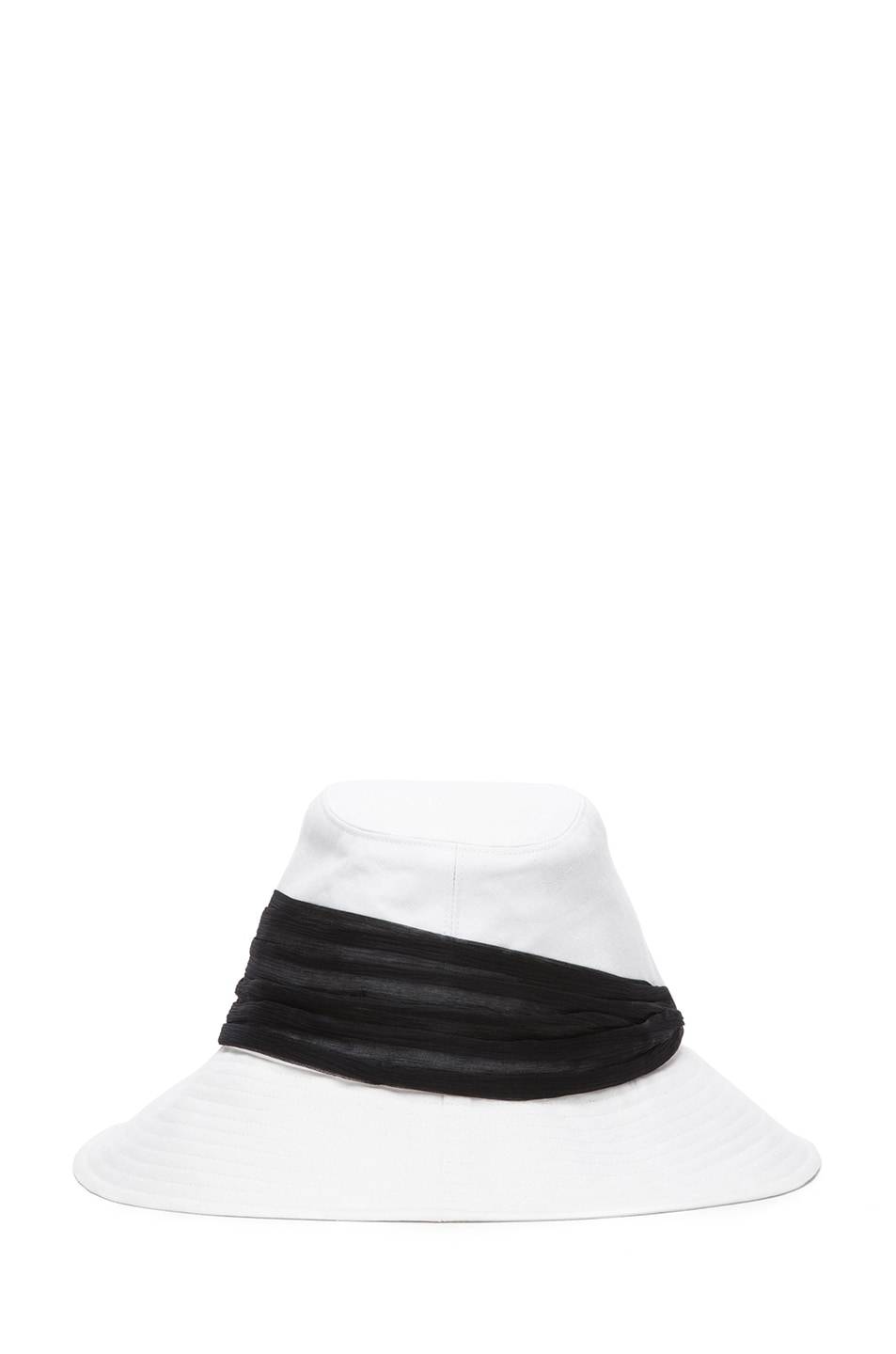 Image 4 of Eugenia Kim Jordana Linen Wide Brim Fedora in Ivory & Black