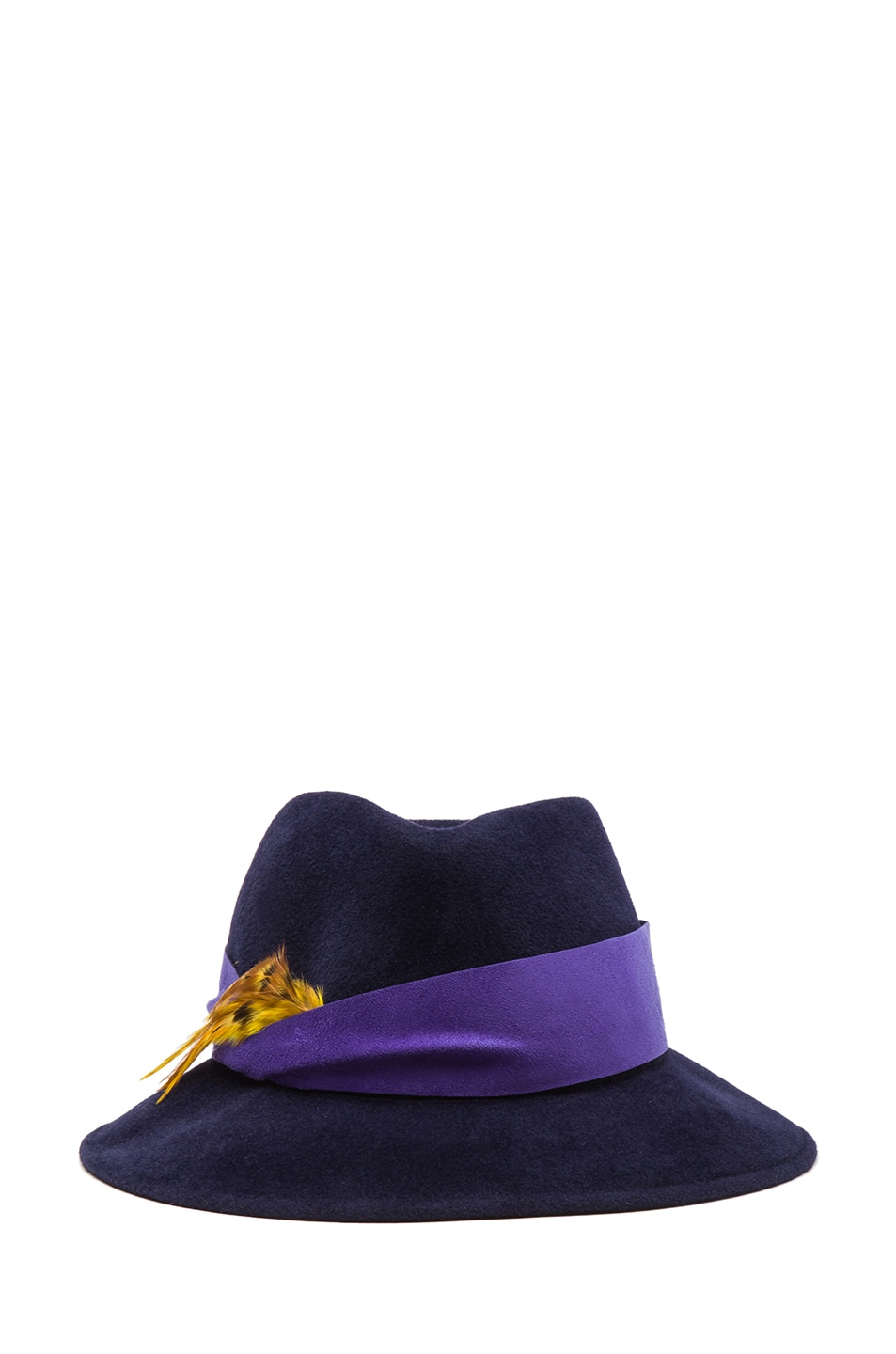 Image 1 of Eugenia Kim Lauren Velour Felt Large Brim Fedora in Navy