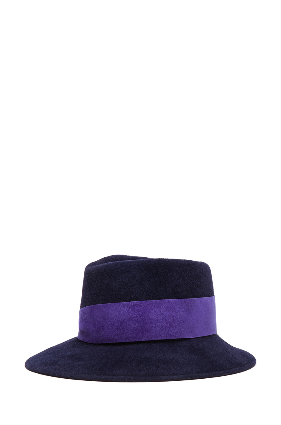 Image 2 of Eugenia Kim Lauren Velour Felt Large Brim Fedora in Navy