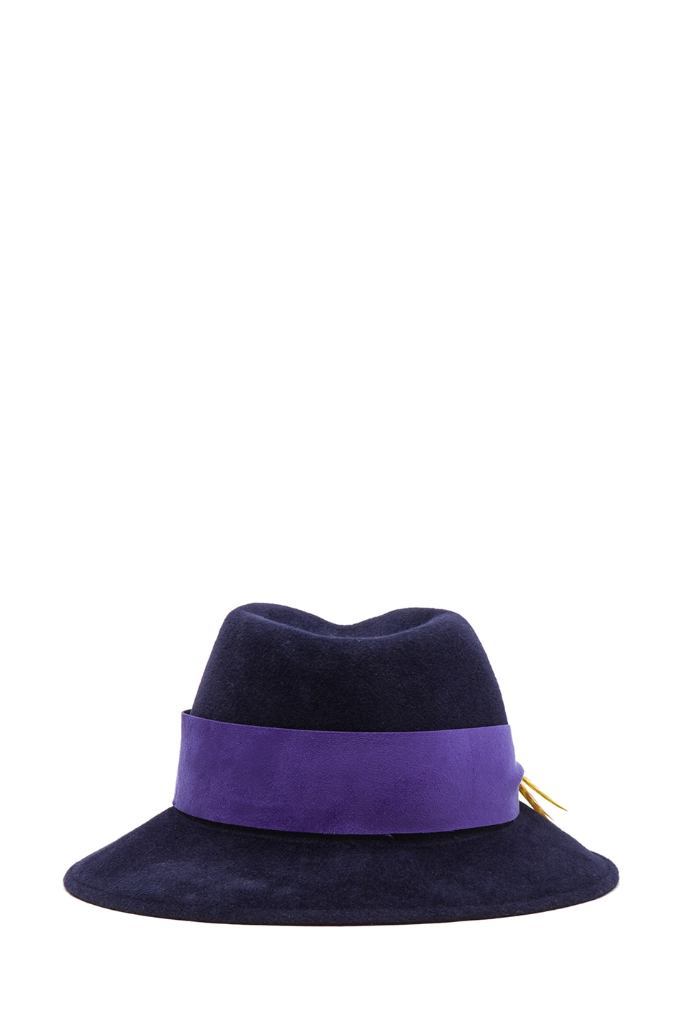 Image 4 of Eugenia Kim Lauren Velour Felt Large Brim Fedora in Navy