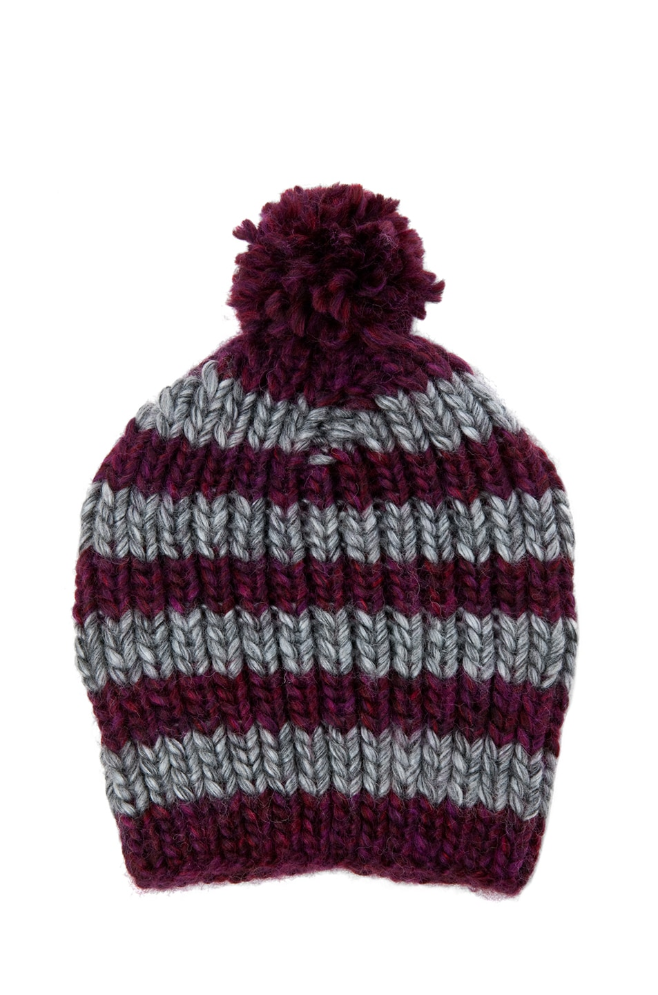 Image 1 of Eugenia Kim Piper Striped Beanie in Wine & Grey
