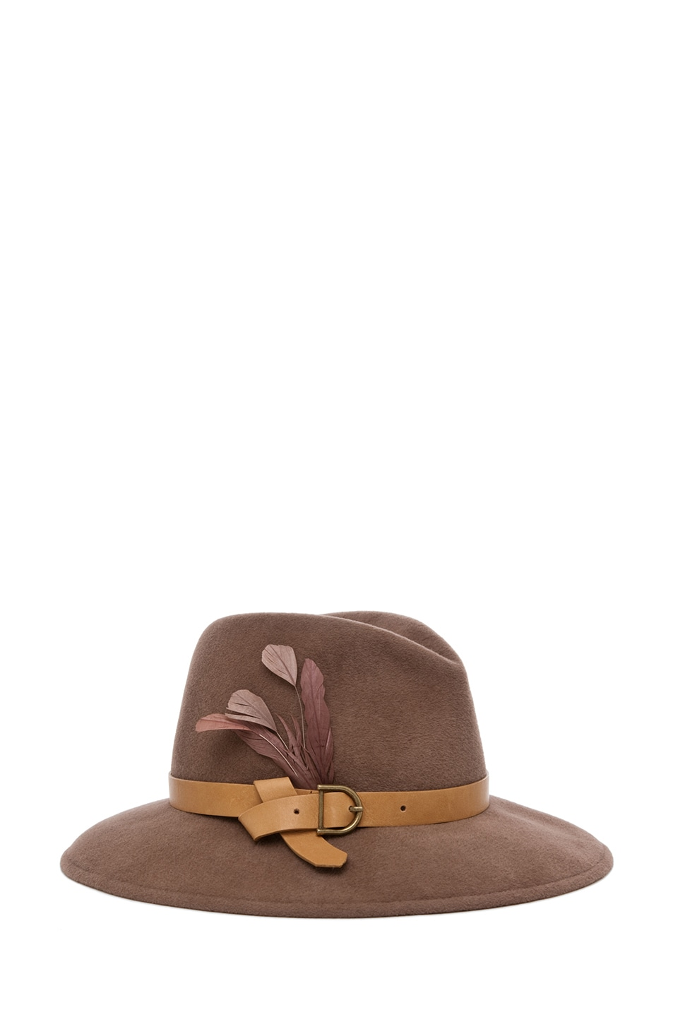 Image 1 of Eugenia Kim Bianca Hat with Leather Band and Feather in Blush