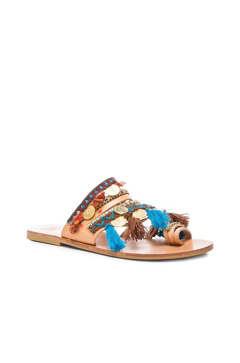 Image 3 of Elina Linardaki Leather Marrakech Sandals in Multi