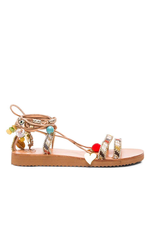 Image 2 of Elina Linardaki Leather Stardust Sandals in Multi