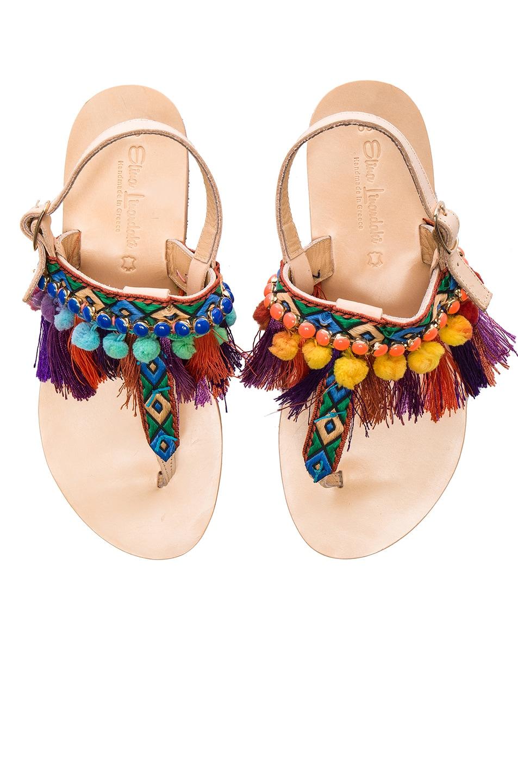 Image 1 of Elina Linardaki Leather Dizzy Parrot Sandals in Multi