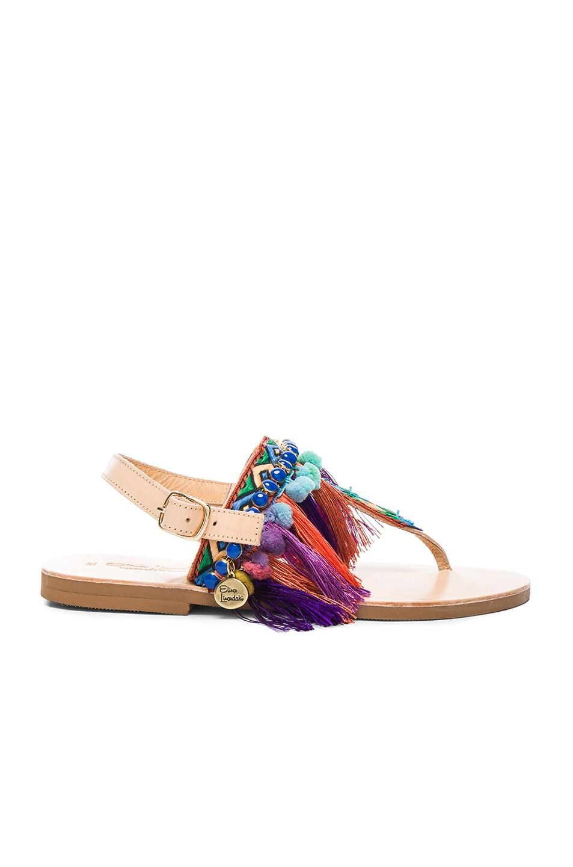 Image 2 of Elina Linardaki Leather Dizzy Parrot Sandals in Multi