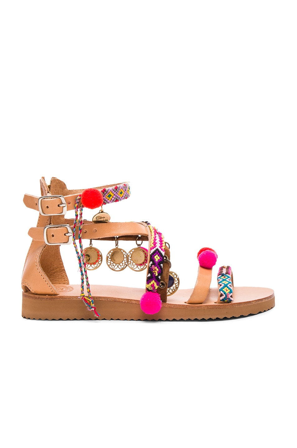 Image 2 of Elina Linardaki Leather Gipsy Spell Sandals in Multi