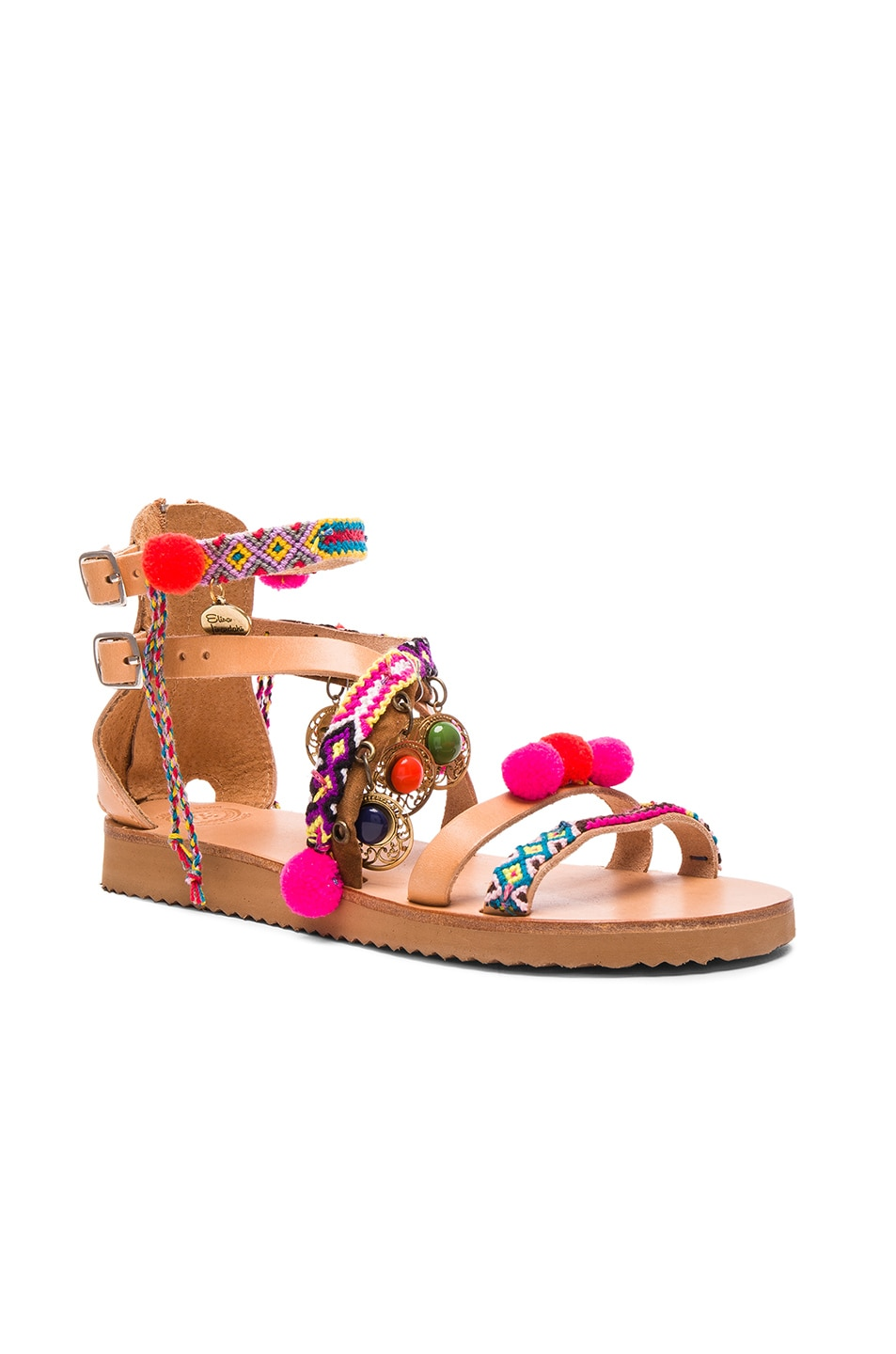 Image 3 of Elina Linardaki Leather Gipsy Spell Sandals in Multi